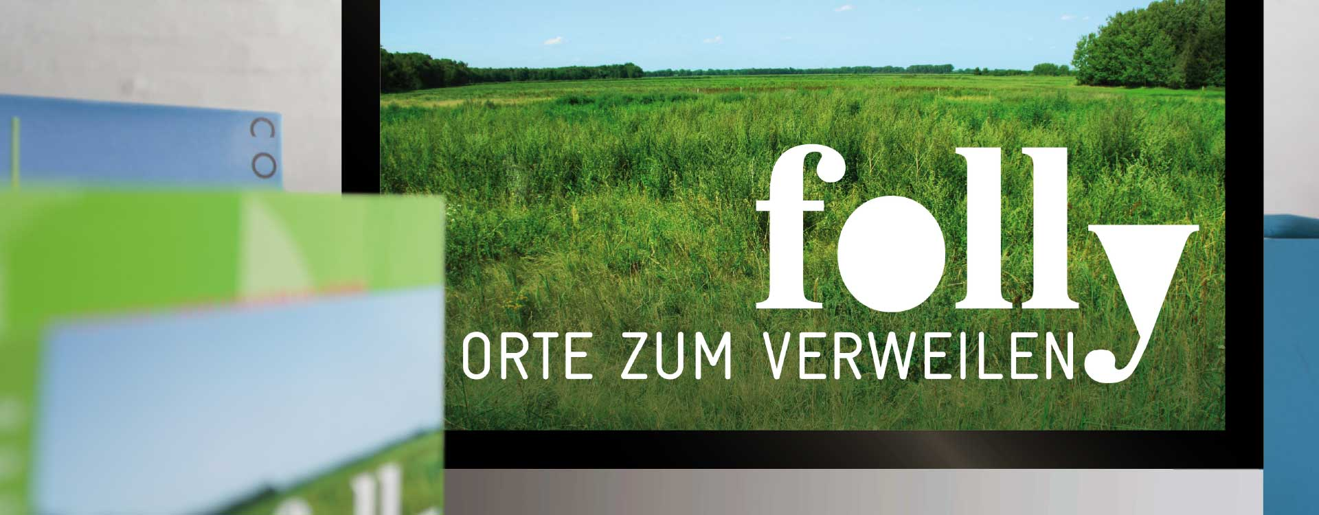 Screen design for the exhibition Folly: Places to Linger; Design: Kattrin Richter   Graphic Design Studio