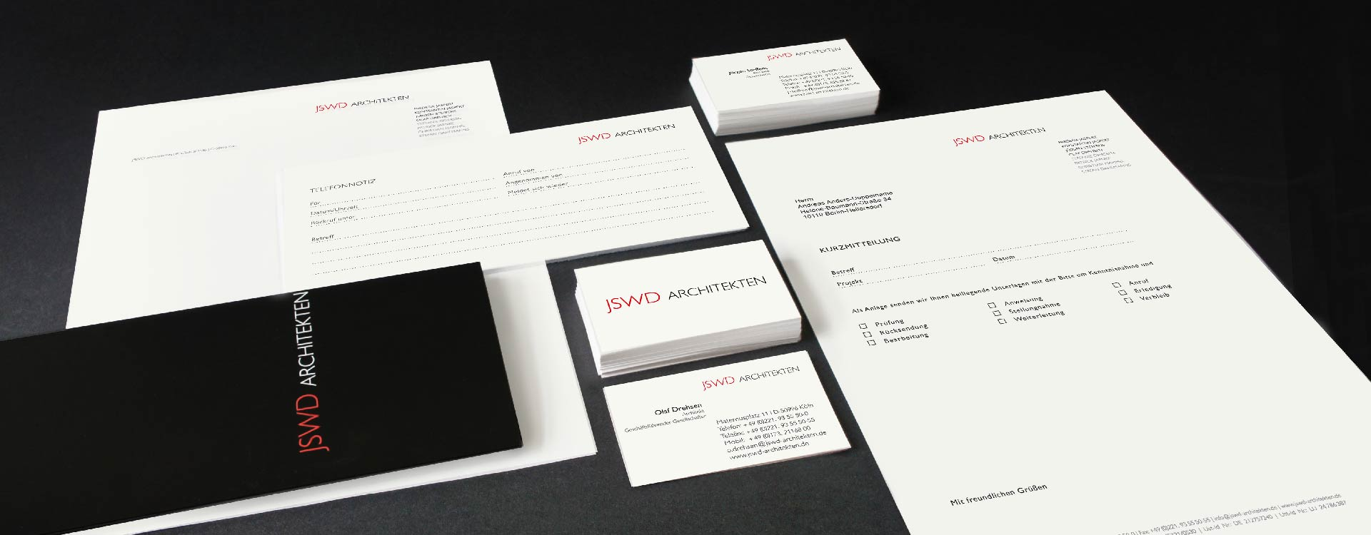 Logo, business cards, letter-headed paper, and leaflet for JSWD Architekten, Köln; Design: Kattrin Richter | Graphic Design Studio