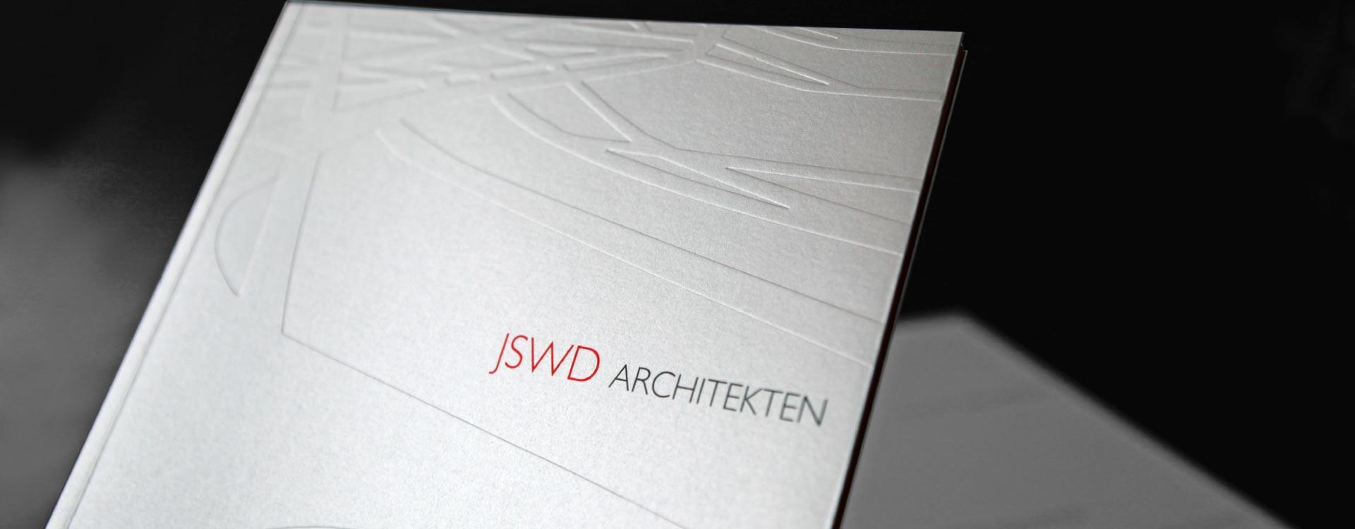 Image brochure for JSWD Architekten, Köln, with embossed envelope; Design: Kattrin Richter | Graphic Design Studio