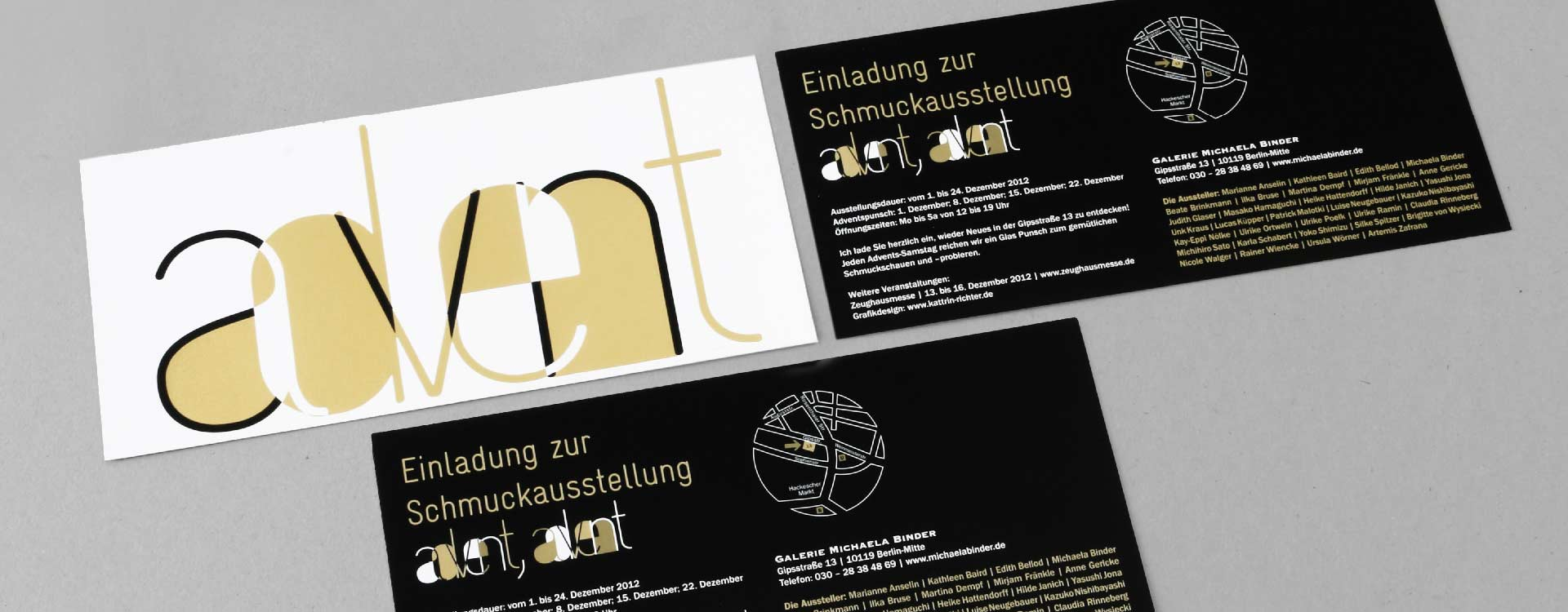 Invitation card with hot foil stamping for the jewellery exhibition 2012 in the gallery of Michaela Binder, Berlin; Design: Kattrin Richter | Graphic Design Studio