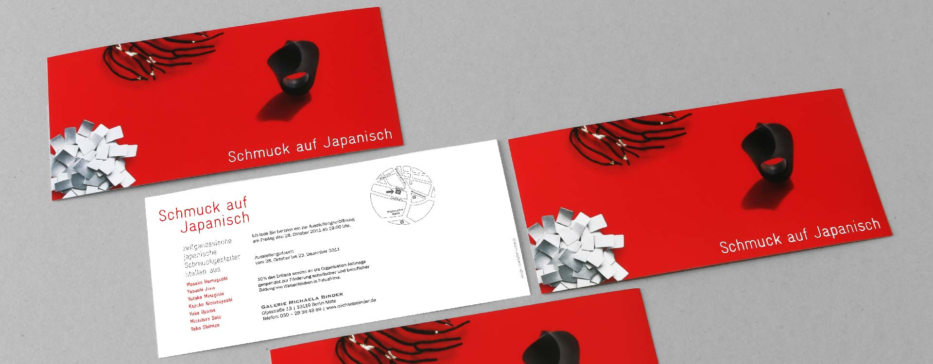 Invitation card for the Schmuck auf Japanisch jewellery exhibition 2011 in the gallery of Michaela Binder, Berlin; Design: Kattrin Richter | Graphic Design Studio