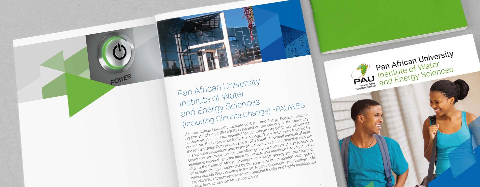 Front cover and inside of brochure of the Pan African University, Institute of Water and Energy Sciences PAUWES; Design: Kattrin Richter | Graphic Design Studio