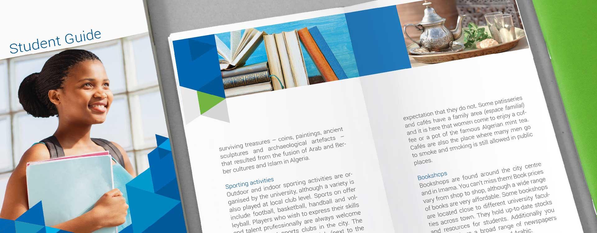 Titelseite und Innenseite vom Student Guide der Pan African University, Institute of Water and Energy Sciences PAUWES; Design: Kattrin Richter | Büro für Grafikdesign