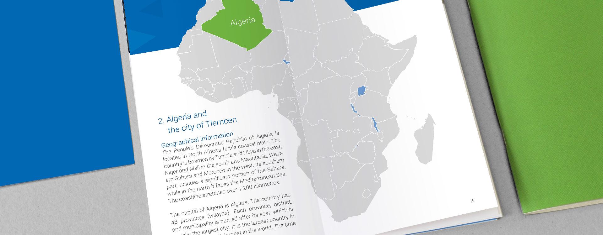 Innenseite vom Student Guide der Pan African University, Institute of Water and Energy Sciences PAUWES; Design: Kattrin Richter | Büro für Grafikdesign
