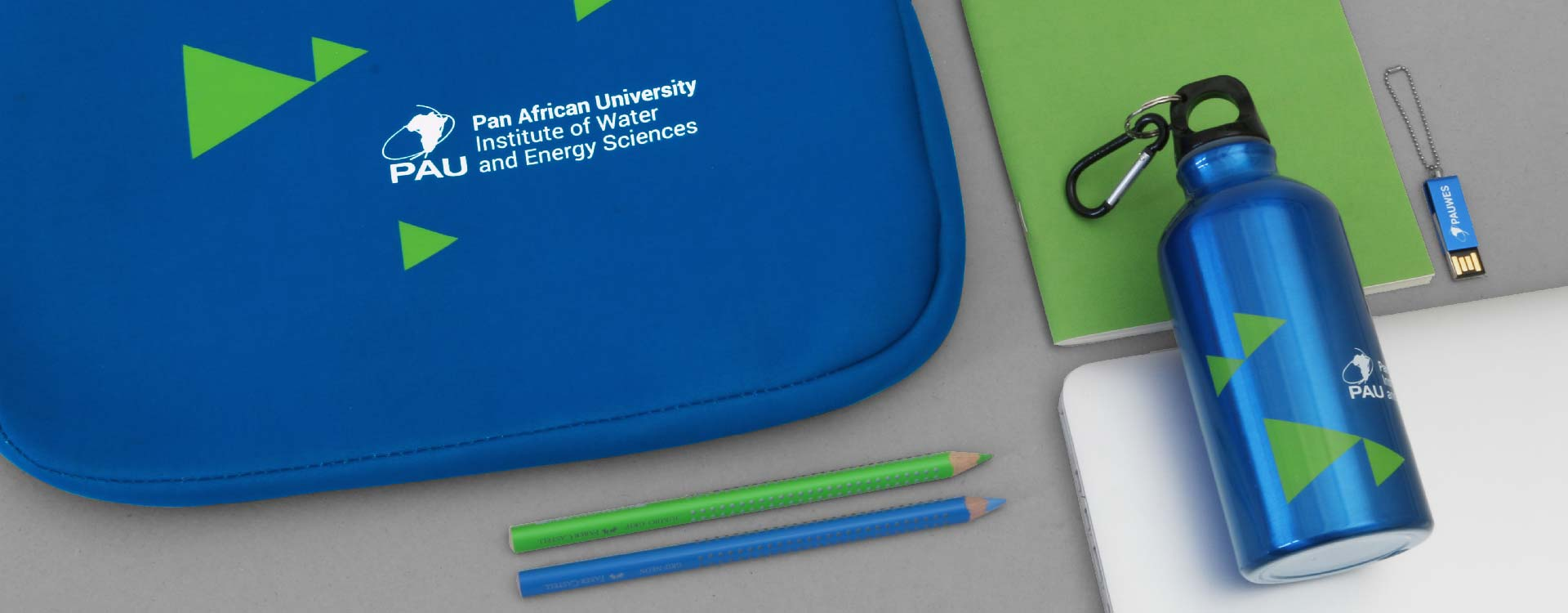 Promotional items of the Pan African University, Institute of Water and Energy Sciences PAUWES; Design: Kattrin Richter | Graphic Design Studio