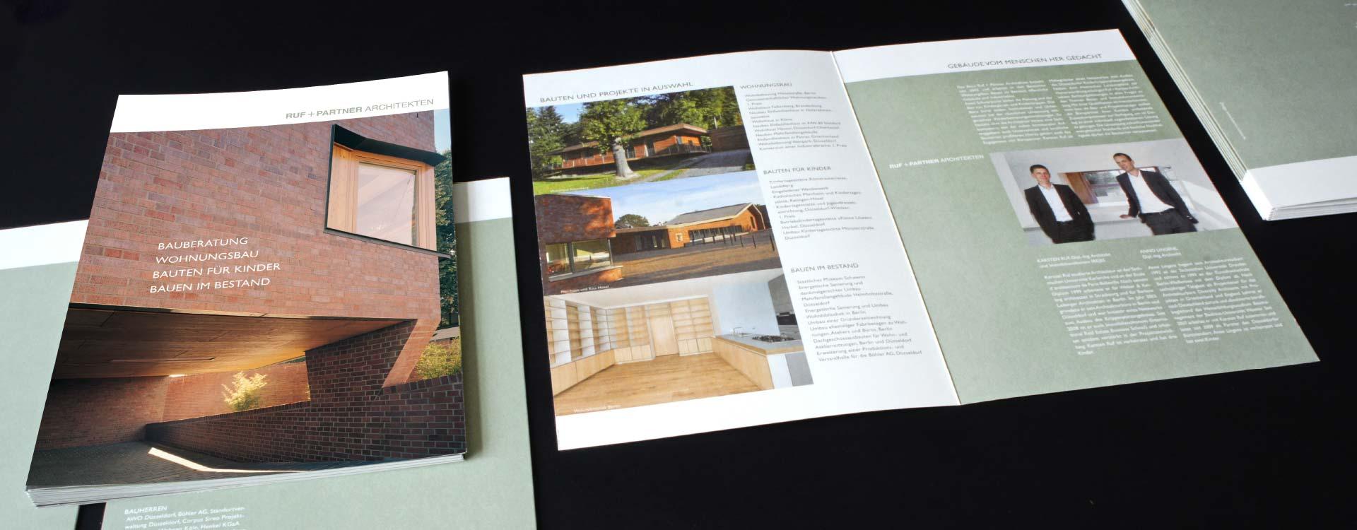 Leaflets for Ruf + Partner architects office; Design: Kattrin Richter | Graphic Design Studio
