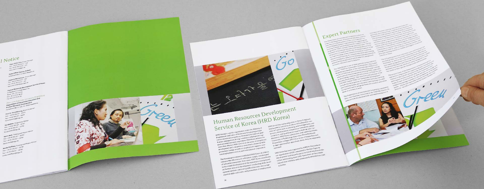 Inside pages of the brochure Technical Vocational Education and Training, Climate Change and Green Jobs of the GIZ Magdeburg; Design: Kattrin Richter | Graphic Design Studio