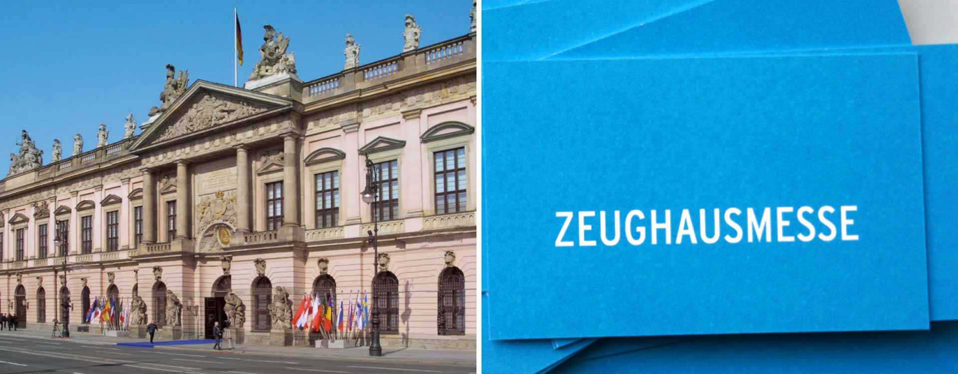Front view of Zeughaus Berlin, business card of Zeughausmesse; Design: Kattrin Richter | Graphic Design Studio
